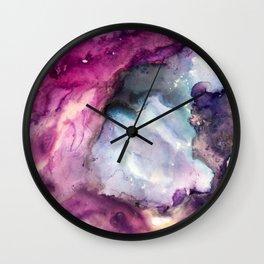 Purple Fusion - Mixed Media Painting Wall Clock