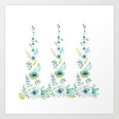 Blue Floral Twist Art Print