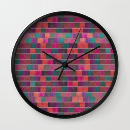 """""""Full Color Squares Pattern"""" Wall Clock"""