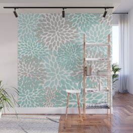Floral Pattern, Teal, Aqua, Turquoise,Gray Wall Mural