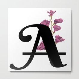 A - Monogram with flowers - Alphabet Floral design Metal Print