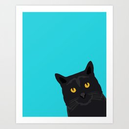 Black Cat peeking around the corner funny cat person gift for cat lady hipster black cat ironic art Art Print