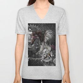 Wonderful steampunk horse with wings Unisex V-Neck