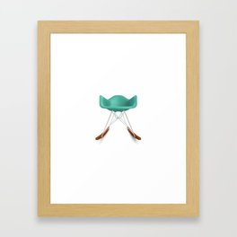 Eames® Molded Plastic Rocker with Wood Base - Turquoise Framed Art Print
