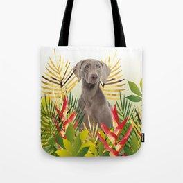 Weimaraner Dog in garden Tote Bag