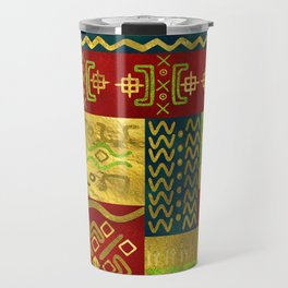 Ethnic African Golden Pattern on color Travel Mug