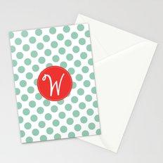 Monogram Initial W Polka Dot Stationery Cards