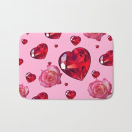 PINK  ART RAINING ROSES RUBY RED VALENTINES HEARTS Bath Mat