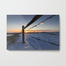 Barbed Wire Sunrise Metal Print