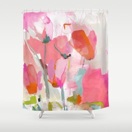 Floral abstract pink art Shower Curtain