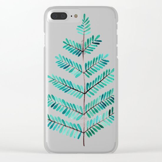 Turquoise Leaflets Clear iPhone Case