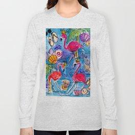 Flip Flops and Flamingos Long Sleeve T-shirt