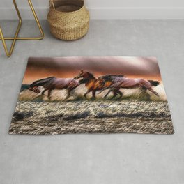 Wild Horses of the Outer Banks, North Carolina Landscape by Jeanpaul Ferro Rug