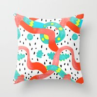 surrealism Throw Pillows featuring Pop surrealism White by Evatania
