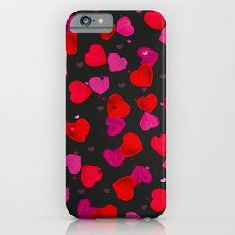 Valentine's Day background with hand drawn pink and red heart black background iPhone Case