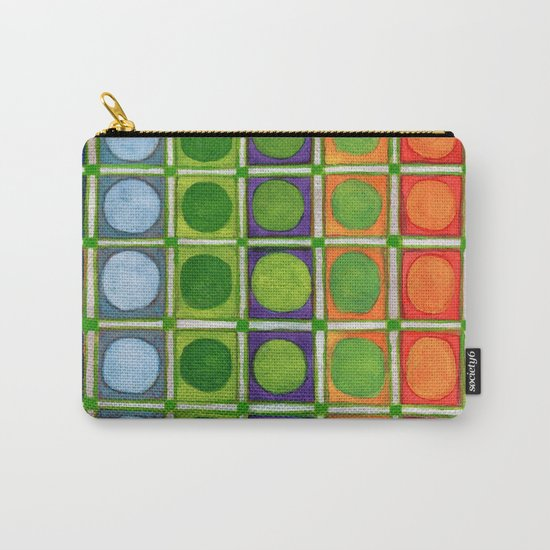 Beautiful Rainbow Colored Circles in a Grid Carry-All Pouch