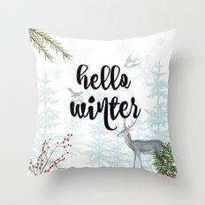 Hello winter nature scene Throw Pillow
