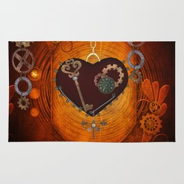 Steampunk, heart with gears Rug