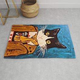 Cat Portrait Custom Acrylic on Canvas Painting  Rug