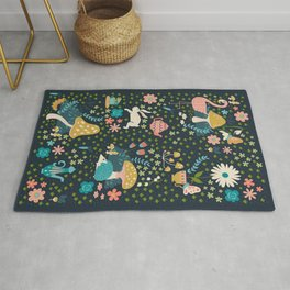 Wondering in Wonderland - Blue + Gold Rug