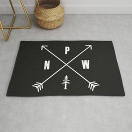PNW Pacific Northwest Compass - White on Black Minimal Rug