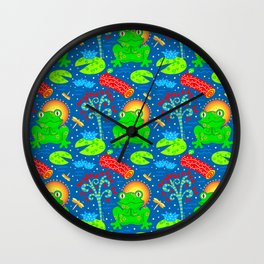 Little Happy Frog Wall Clock