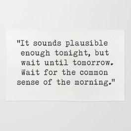 """H.G. Wells """"It sounds plausible enough tonight..."""" Rug"""