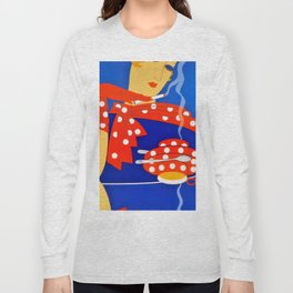 """Art Deco Illustration """"Coffee and Cigarettes"""" Long Sleeve T-shirt"""
