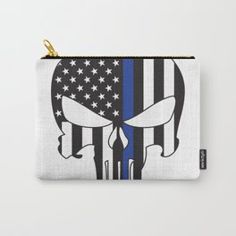 Punisher Skull American Flag Thin Blue Line Carry-All Pouch