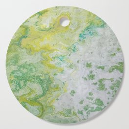 Lime Green Aqua Yellow Textured Abstract Cutting Board