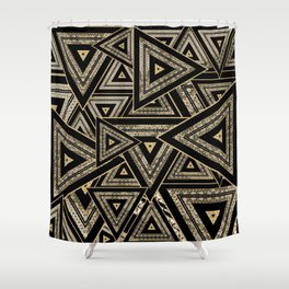 Gold and Black Triangle Abstract Multi Pattern Design Shower Curtain