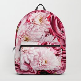 Pink Roses and Gerbera Daisy Flowers Wedding Bouquet, Love Photo, Romantic Celebration, Wall Art Backpack