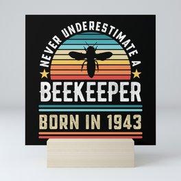 Beekeeper born 1943 80th Birthday Gift Beekeeping Mini Art Print