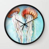 jelly fish Wall Clocks featuring Jelly Fish  by Felicia Atanasiu