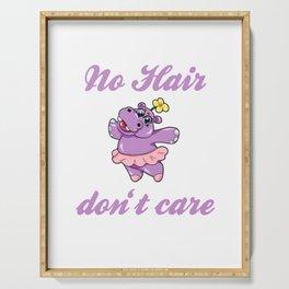 No Hair dont care alopecia areata bald head gift Serving Tray