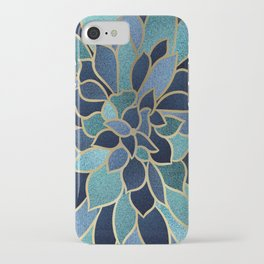 Festive, Floral Prints, Navy Blue, Teal and Gold iPhone Case