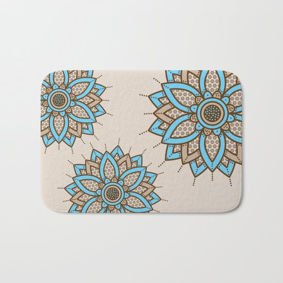 Tri Floral Parade Brown Blue Bath Mat