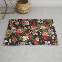 Opossum Floral Pattern (with text) Rug