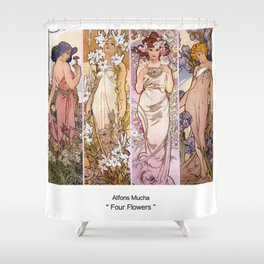 """Alfons Mucha, """" four flowers """" Shower Curtain"""