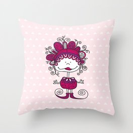Doodle Doll with Curls on Pink Background Throw Pillow