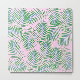 Fern Leaves Pink Metal Print