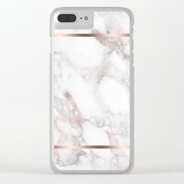 Rose-gold & white faux marble Clear iPhone Case
