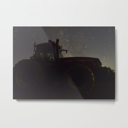 Tractor with the Night Sky Metal Print