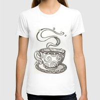 whisky T-shirts featuring She drinks whisky in a tea cup by grishpradip