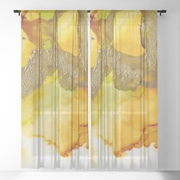 Gold Abstract 1 Sheer Curtain