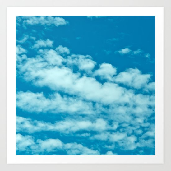 Beautiful blue sky and fluffy clouds Art Print