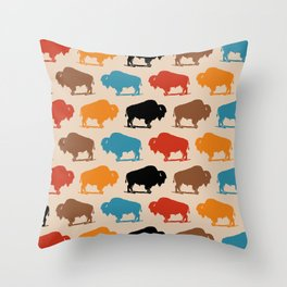 Colorful Buffalo Bison Pattern 278 Throw Pillow