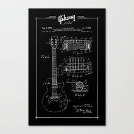 Gibson Les Paul Guitar Patent Drawing 1955 - Blueprint - Music Canvas Print