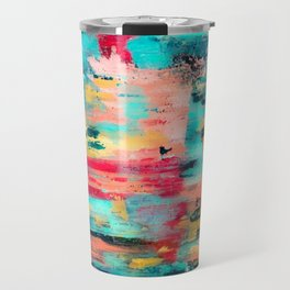 Ocean Reef: a colorful abstract piece in pinks, reds and turquoise by KKingCreations Travel Mug