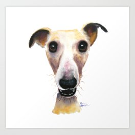 Nosey Dog Whippet Greyhound ' HOLLYWOLLY ' by Shirley MacArthur Art Print